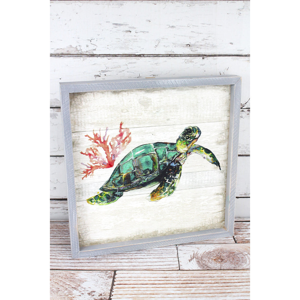 Sea Turtle Framed Wood Wall Art