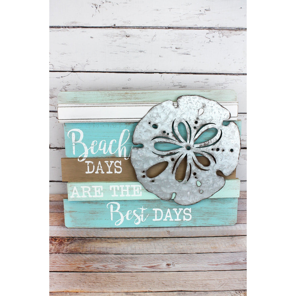 'Beach Days' Wood with Metal Sand Dollar Wall Sign