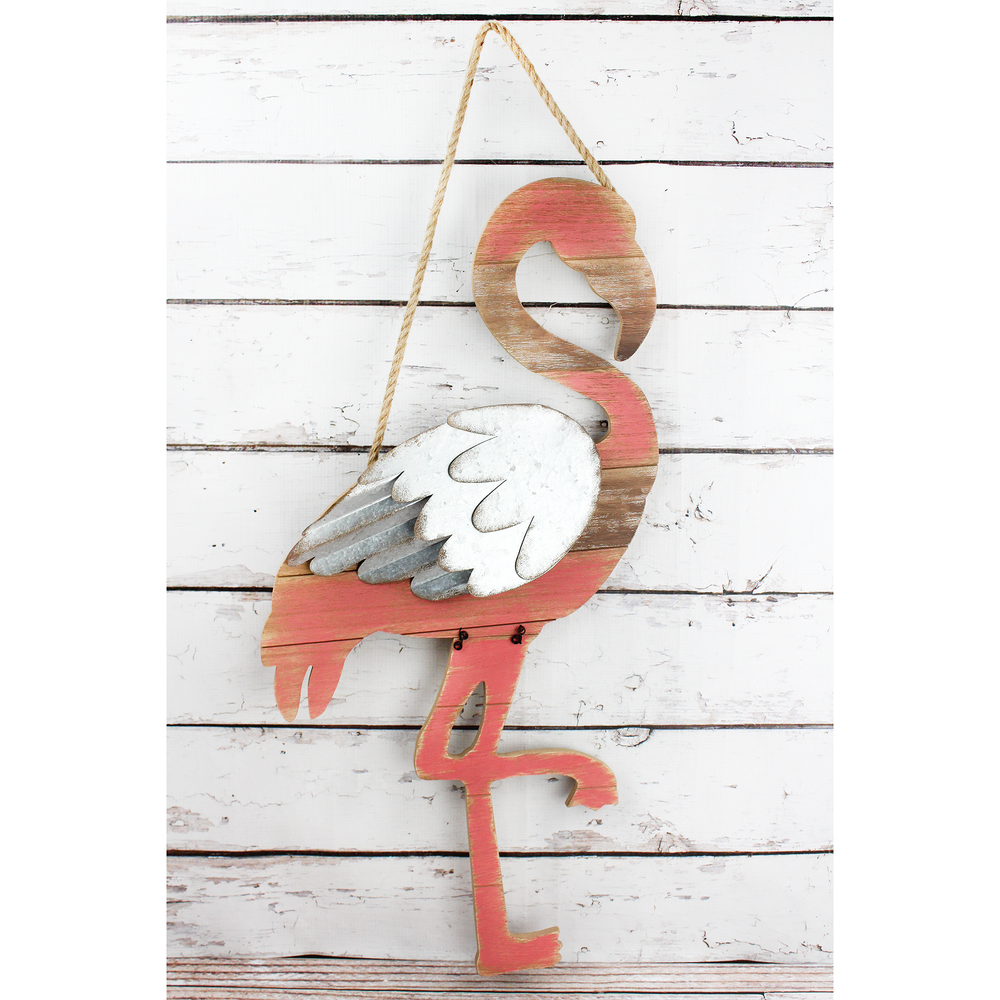 Wood and Metal Flamingo Wall Art
