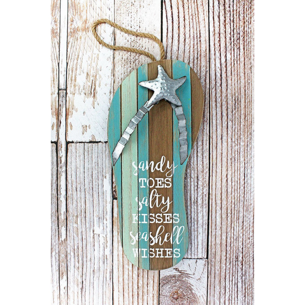 'Sandy Toes' Wood and Metal Flip Flop Sign