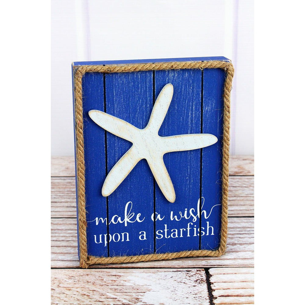 'Make A Wish Upon A Starfish' Rope Trimmed Wood Sign