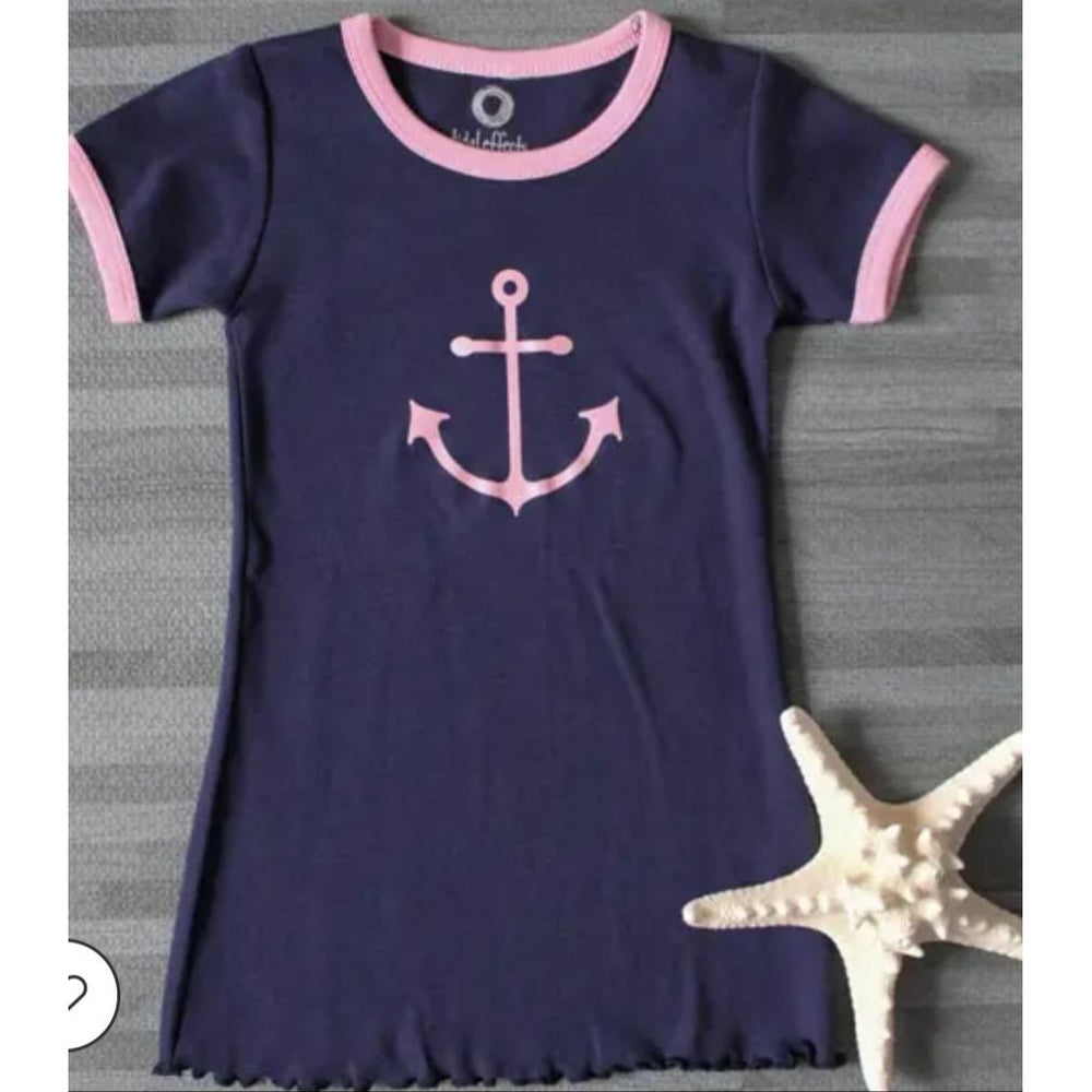 Girls Classic Ringer Dress - Navy/Pink