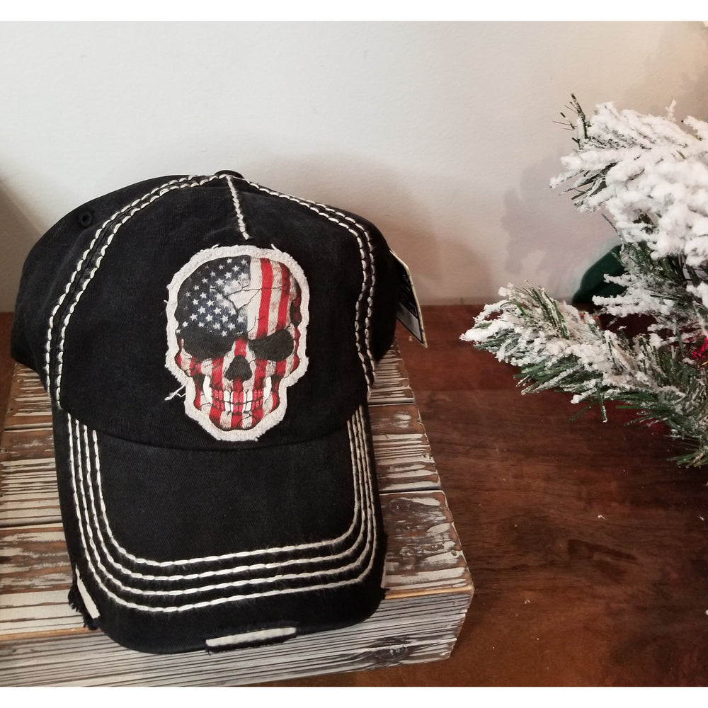 Skull Flag Hat-- Choice of Color