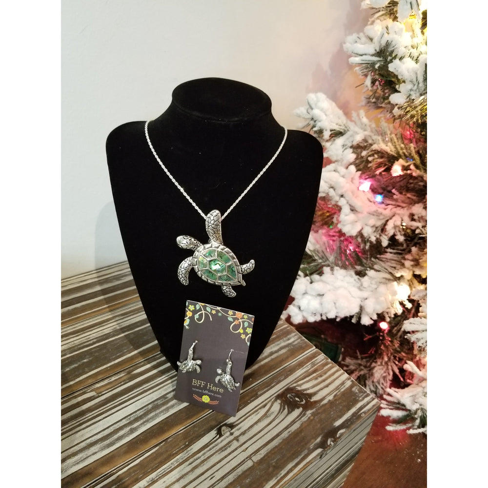 Sea Turtle Abalone Pendant & Earring Set