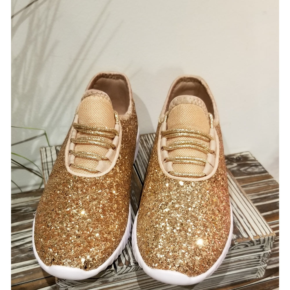 Remy Glitter Sneaker -- Rose Gold