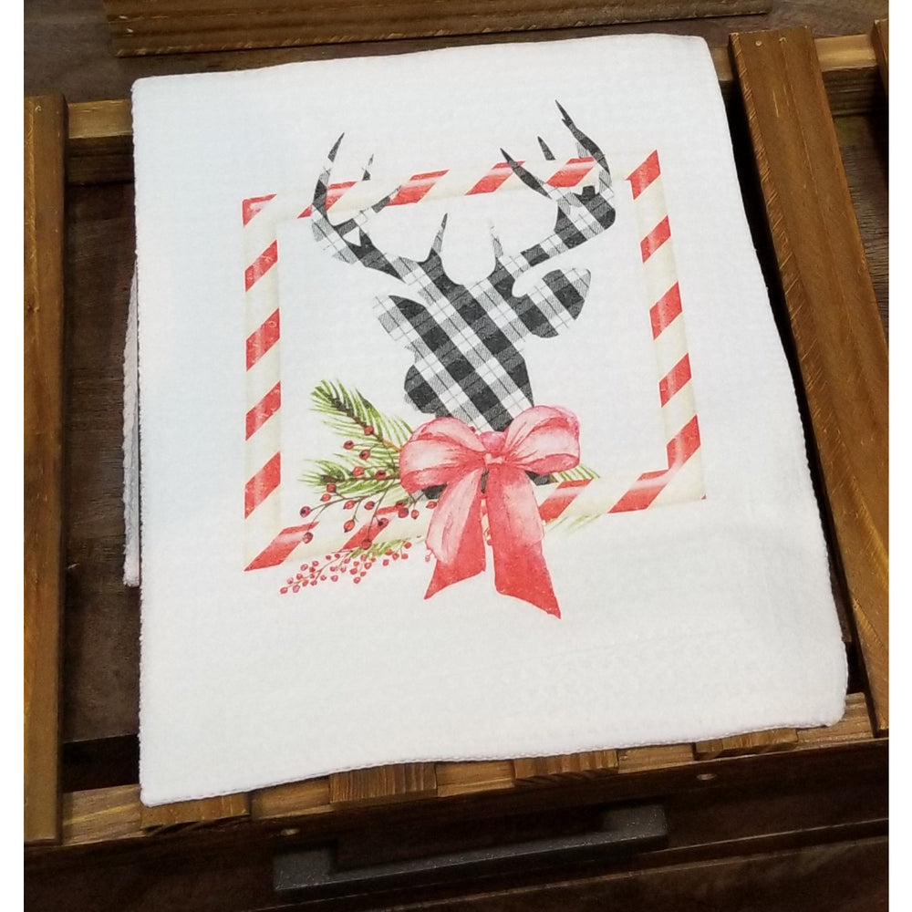 Reindeer Candy Cane Christmas Kitchen Towel