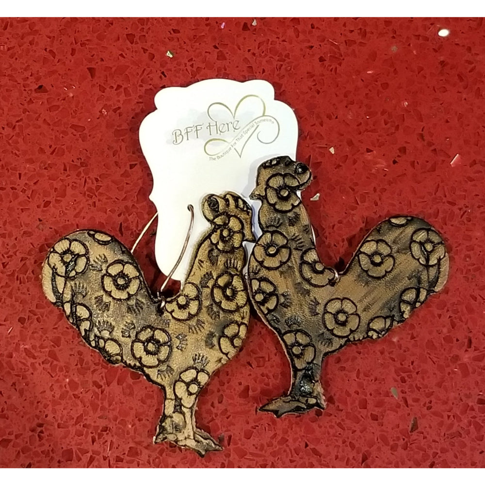 Floral Rooster Earring