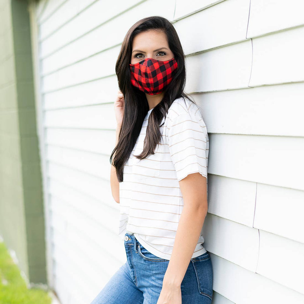 Red Buffalo Plaid Adjustable Face Mask - Adult
