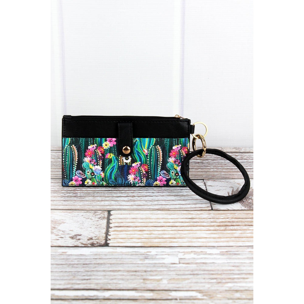 Floral Black Faux Leather Bangle Pouch -- Choice of Style