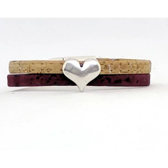 Hammered Heart Classic Cork Bracelet -- Choice of Size