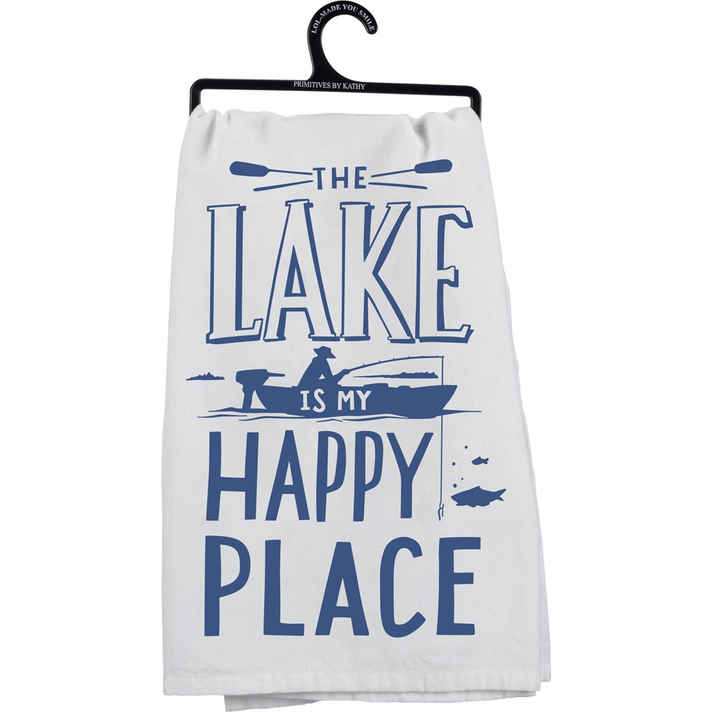"""The Lake Is My Happy Place""  Kitchen Towel by PBK"