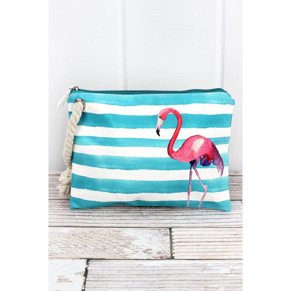 Flamingo Aqua Cabana Striped Pouch