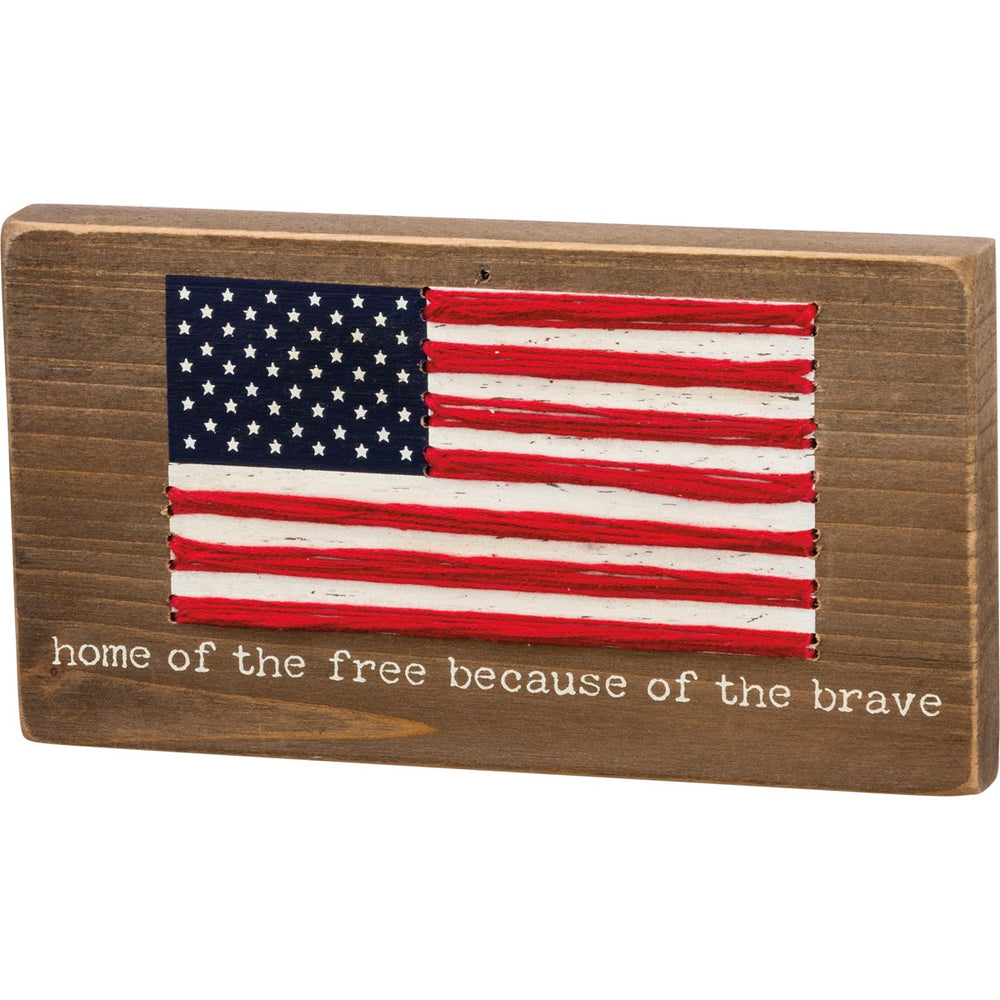 """Home Of The Free Because Of The Brave"" -- String Art by PBK"
