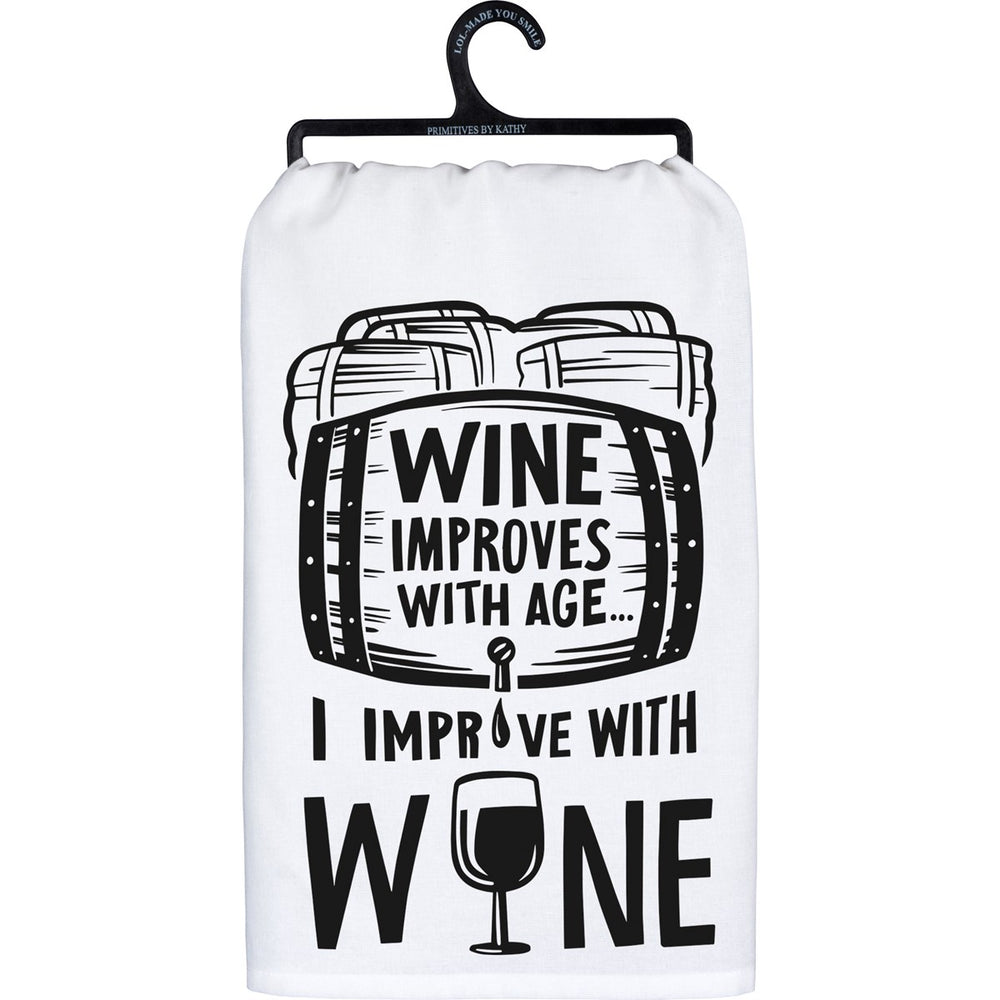 Wine Improves With Age - Kitchen Towel