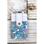 Tropical  Leather Credit Card Holder Keychain  -- Choice of Style