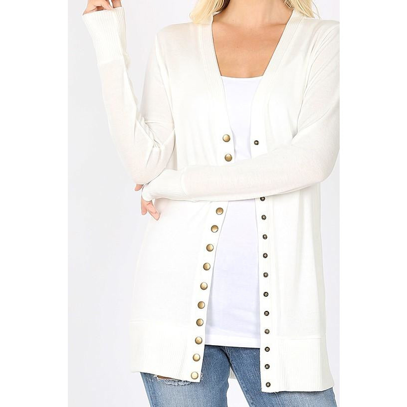 Snap Button Cardigan Sweater -- Ivory