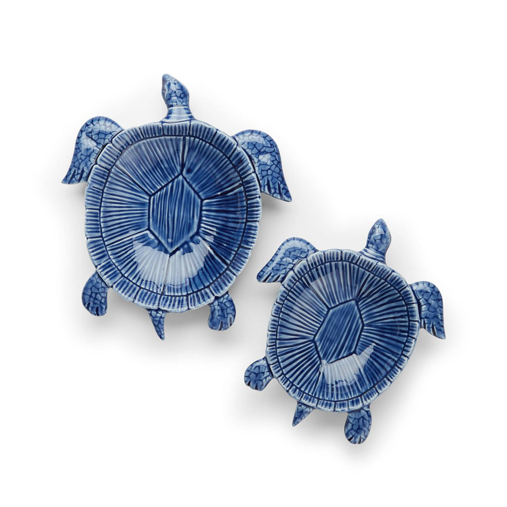 Deep Blue Sea Turtle Bowls -- Set of 2