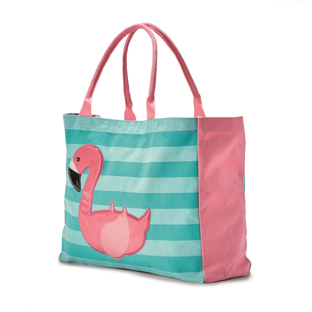 Float On Stripe Tote Bag -- Choice of Flamingo or Swan