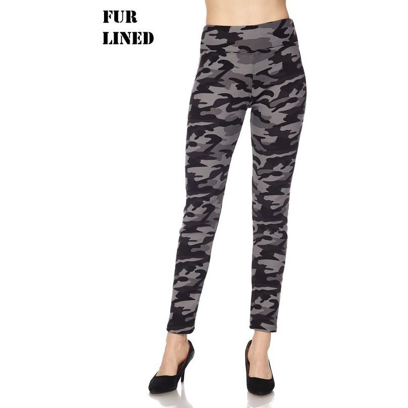 Fur Lined Camo Leggings