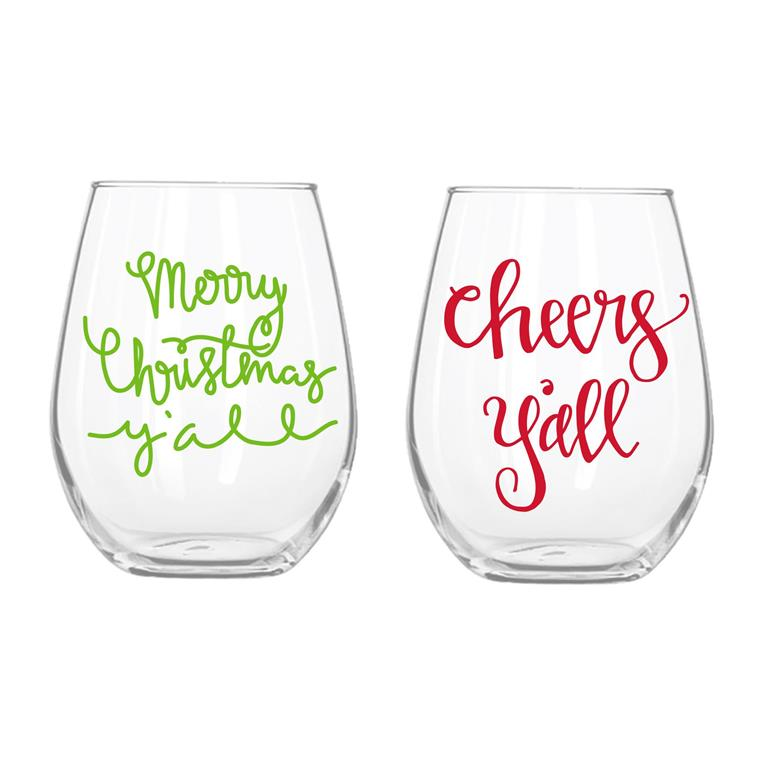 Christmas Cheer Set of 2 Wine Glasses -- Choice of Design