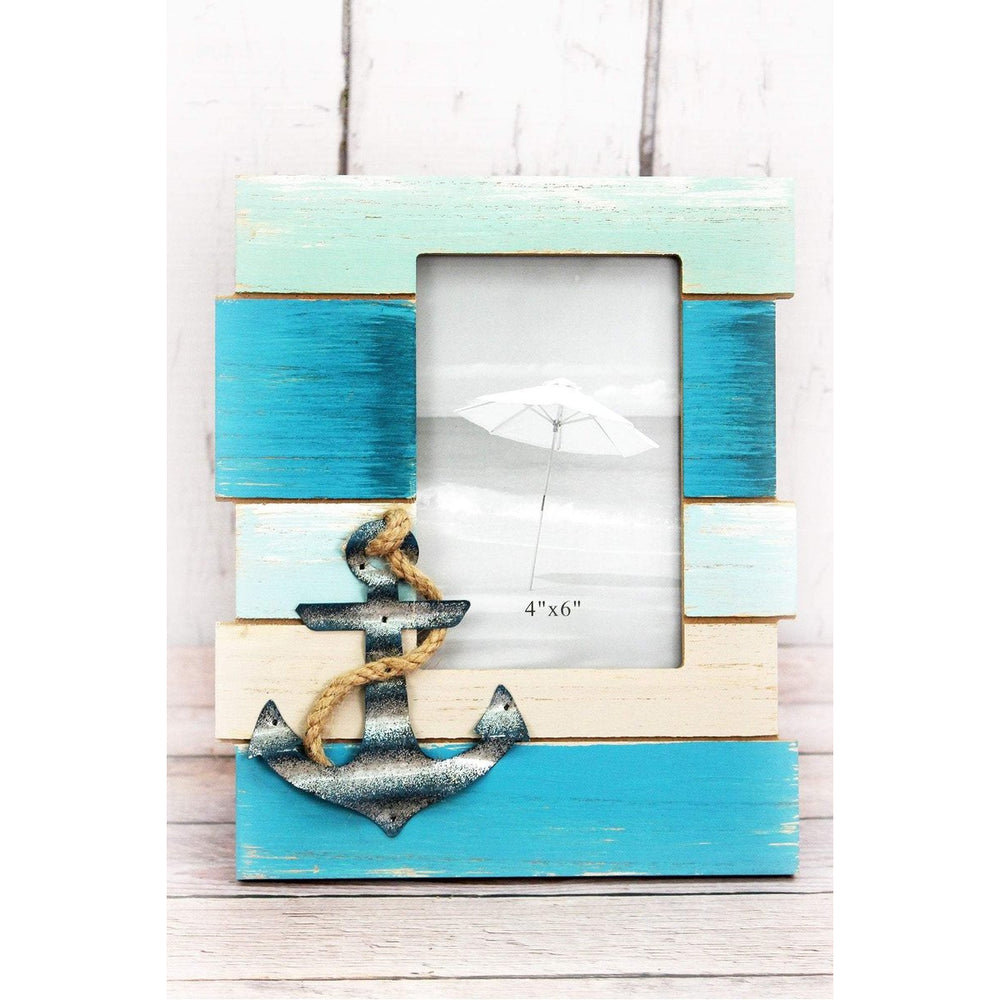 Ocean Stripes with Anchor 4x6 Wood Photo Frame - BFF Here