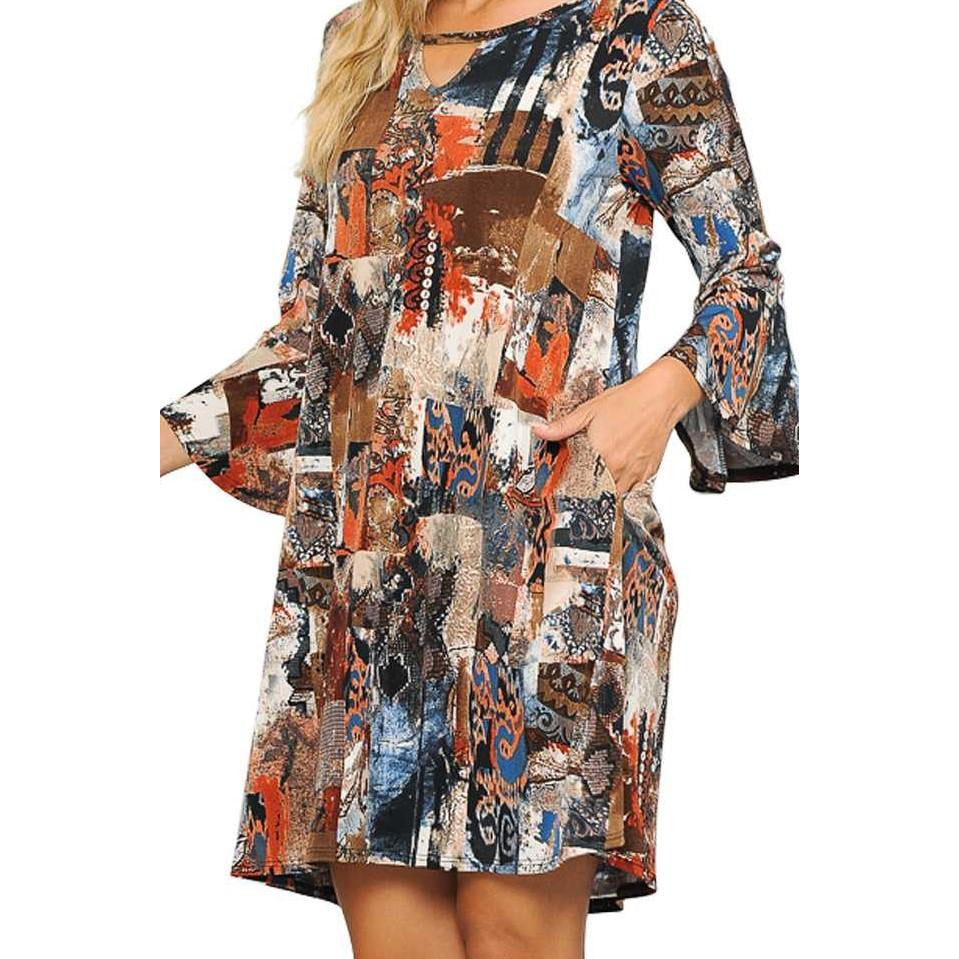 Mixed Patchy Print Keyhole Detail Dress -- Choice of Size