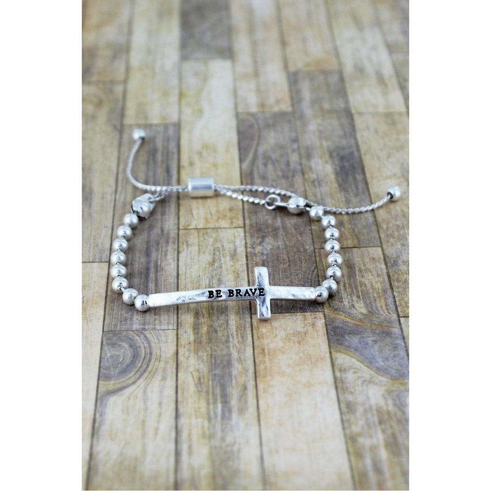 Crave Silvertone Cross Beaded Bolo Bracelet  -- Choice of Style