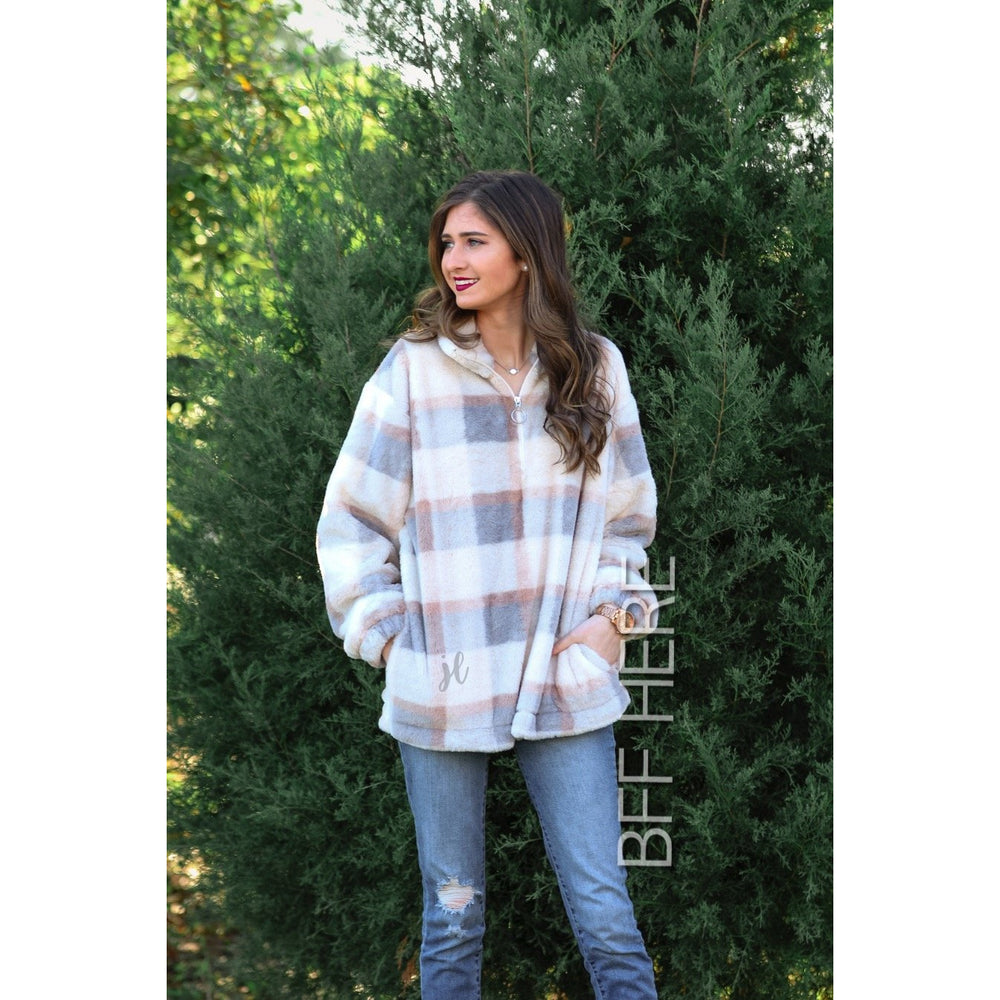 Penny Plaid Faux Fur Pullover