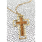 Crave Goldtone and Cork Double Cross Necklace