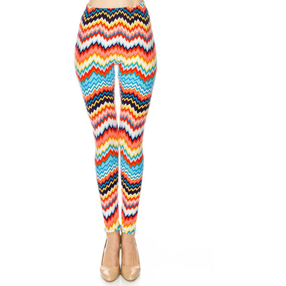 Colorful Zigzag Print Soft Leggings - BFF Here
