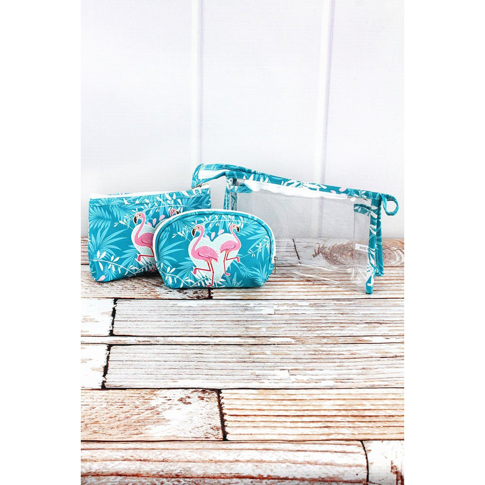 Flamingo Love and Clear 3 Piece Cosmetic Bag Set