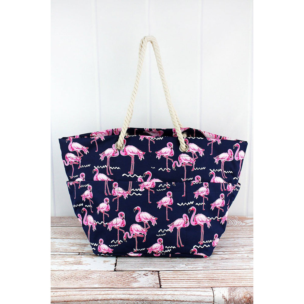 Flamingo Party Rope Handle Beach Tote