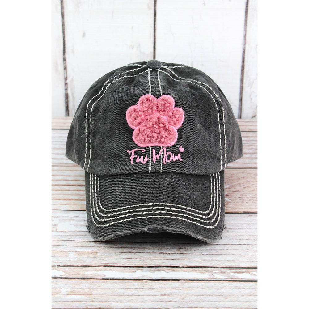 Distressed Black 'Fur Mom' Furry Paw Print Cap