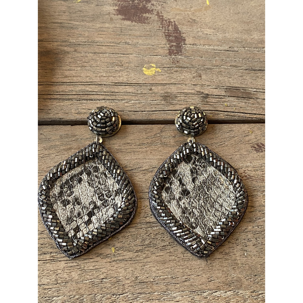 Hematite Snakeskin Seed Bead Earrings
