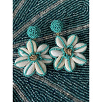 Turquoise Seed Bead and Shell Earrings