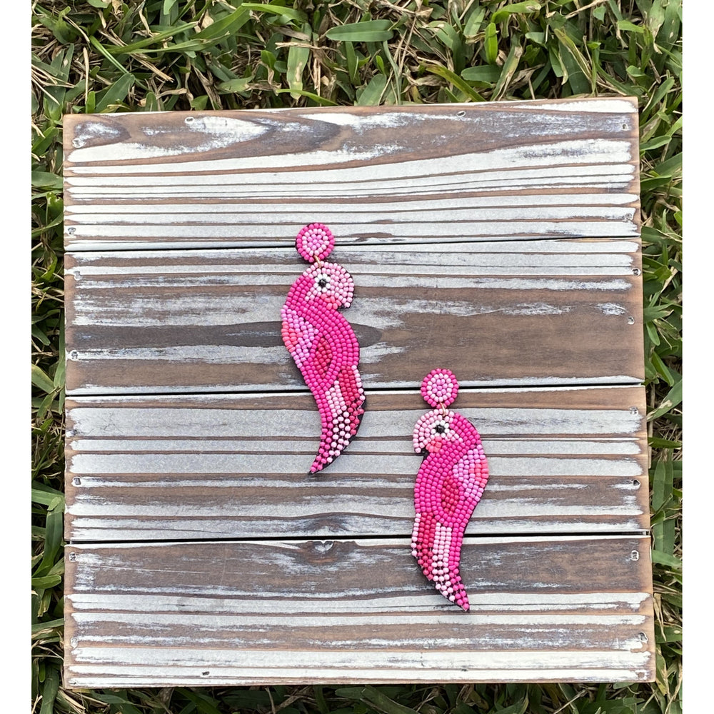 Fuchsia Macaw Seed Bead Earrings
