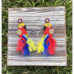 Scarlet Macaw Seed Bead & Feather Earrings