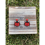 Ladybug Faceted and Seed Bead Earrings