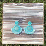 Aqua Stone Seed Bead Earrings