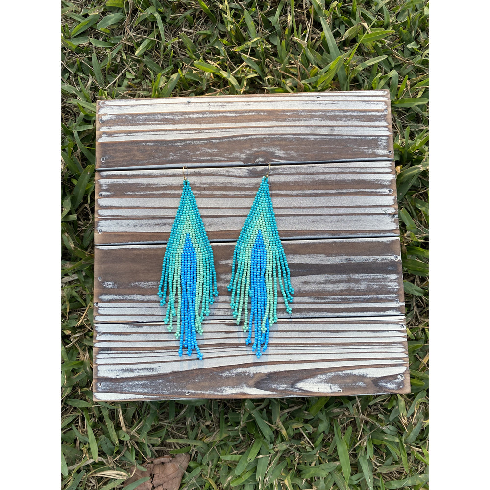 Turquoise Ombre Fringe Seed Bead Earrings