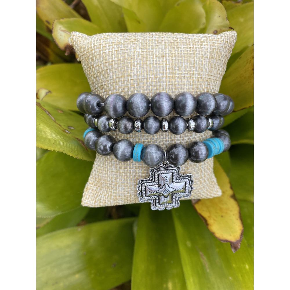 Square Cross Turquoise and Navajo Pearl Beaded Bracelet Set