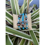 Floral Steer Turquoise and Navajo Pearl Beaded Bracelet Set