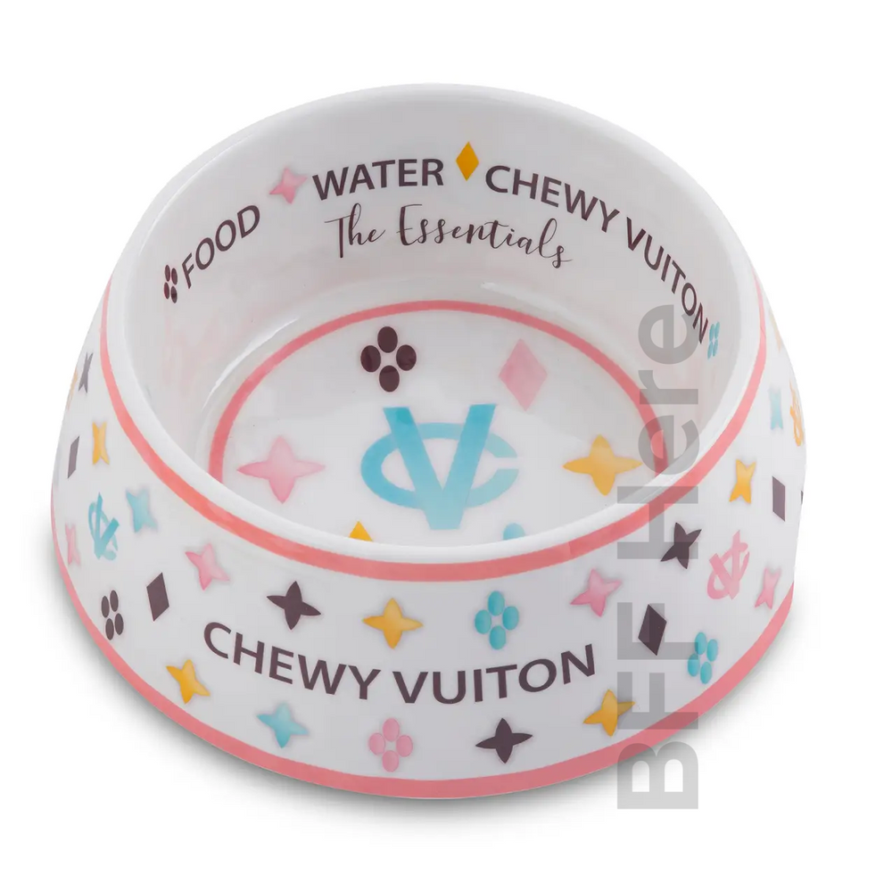 White Chewy Vuiton Dog Bowl