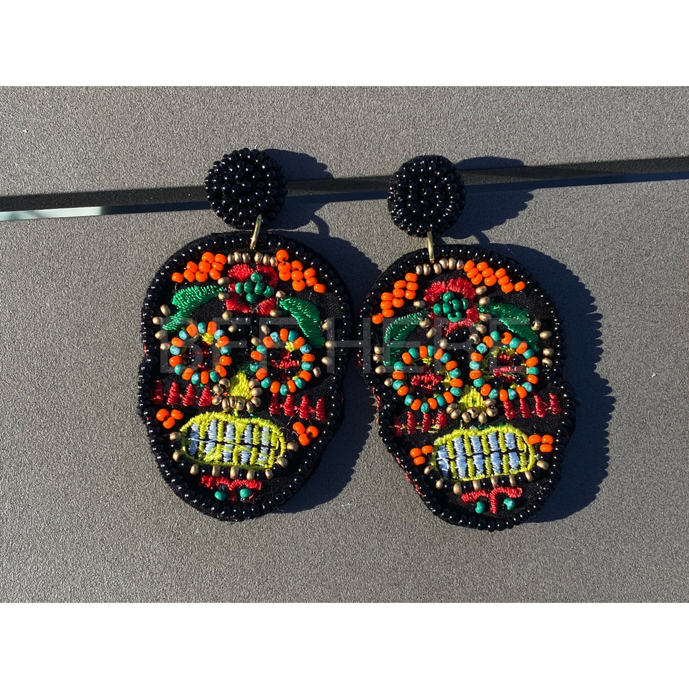 Sugar Skull Statement Earrings -- Choice of Color