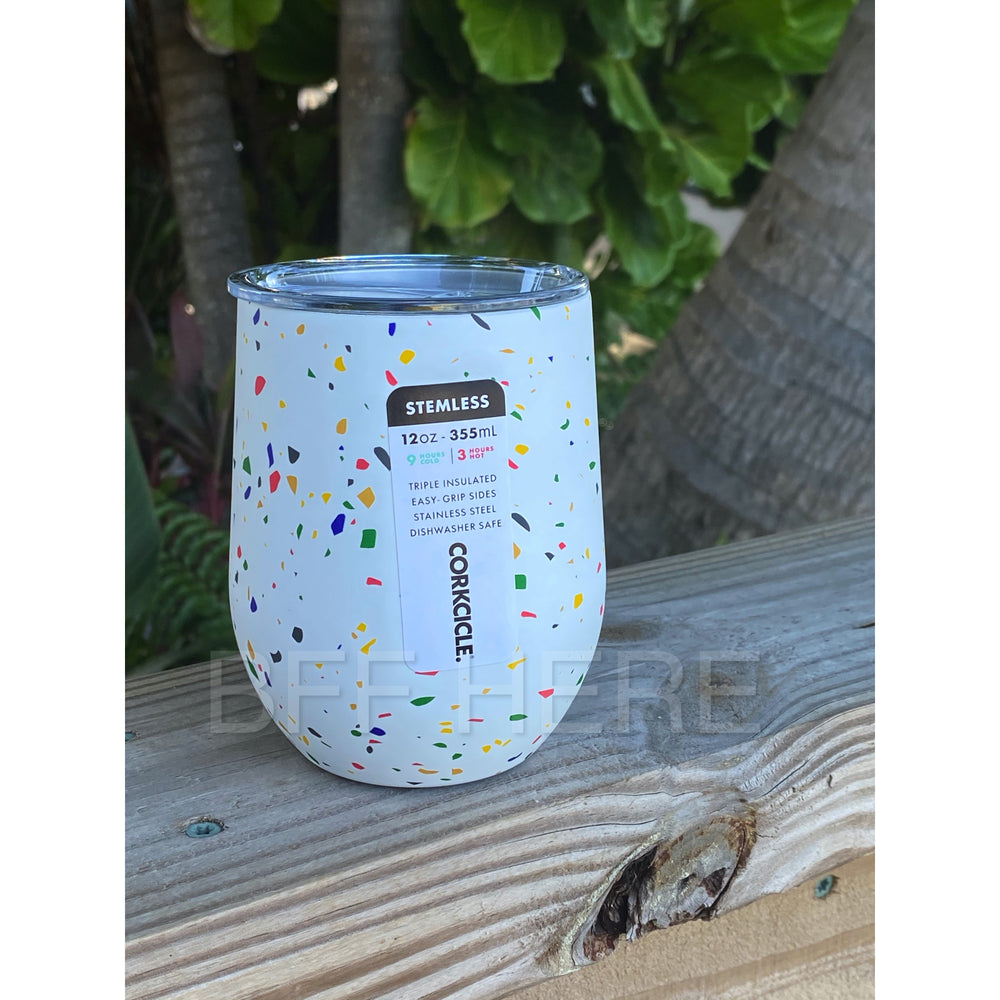 12 oz Stemless By Corkcicle -- Poketo White Terrazzo