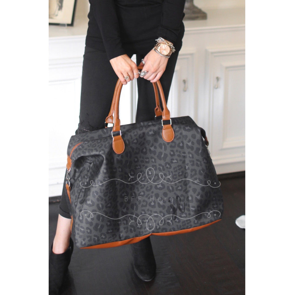 Take Me Away Weekender Bags - Black Leopard