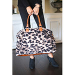 Take Me Away Weekender Bags - Leopard Sherpa