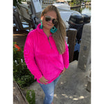 Hot Pink Elle Fleece Pullover