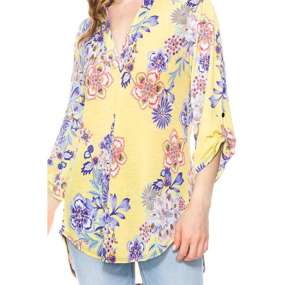 Floral Print 3/4 Sleeve V-Neck Tunic Top