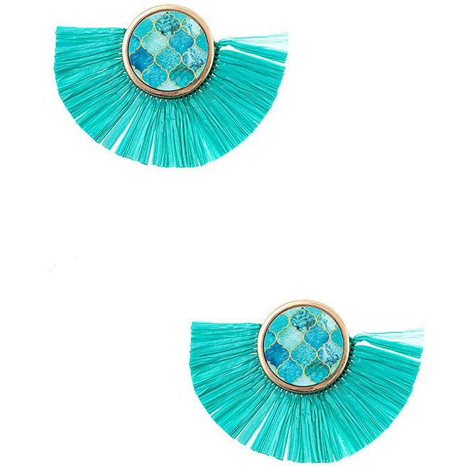 Round Mix Print Raffia Earrings -- Choice of Color